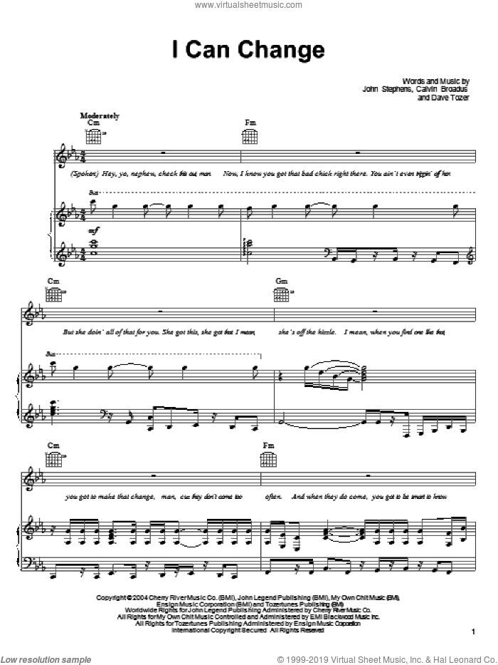 I Can Change sheet music for voice, piano or guitar by John Legend, Calvin Broadus, Dave Tozer and John Stephens, intermediate skill level