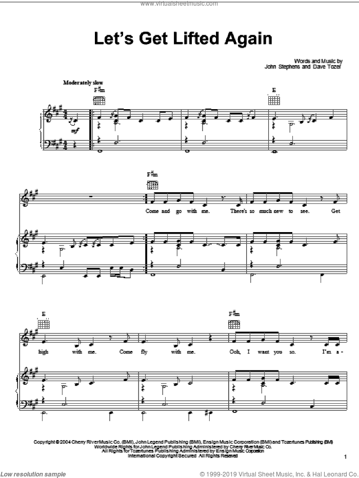 Let's Get Lifted Again sheet music for voice, piano or guitar by John Legend, Dave Tozer and John Stephens, intermediate skill level