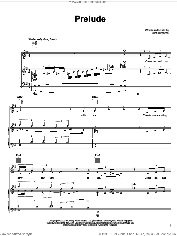 Prelude sheet music for voice, piano or guitar by John Legend, intermediate voice, piano or guitar. Score Image Preview.