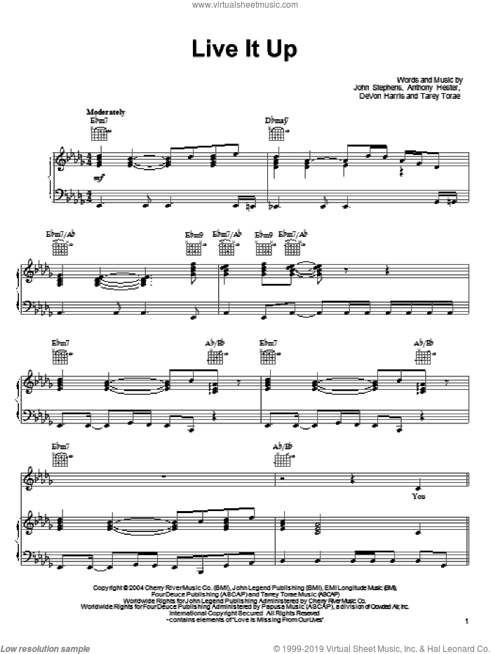 Live It Up sheet music for voice, piano or guitar by John Legend, Anthony Hester, DeVon Harris, John Stephens and Tarey Torae, intermediate skill level