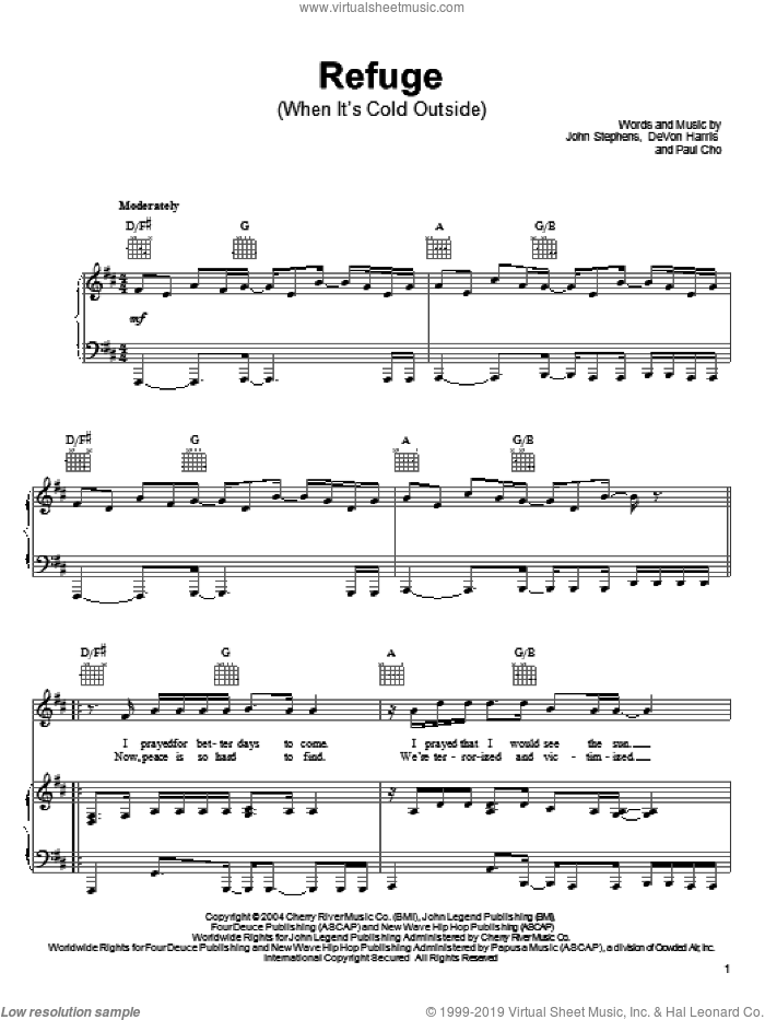 Refuge (When It's Cold Outside) sheet music for voice, piano or guitar by John Legend, DeVon Harris, John Stephens and Paul Cho, intermediate. Score Image Preview.