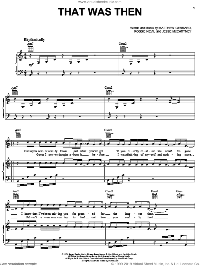 That Was Then sheet music for voice, piano or guitar by Robbie Nevil, Jesse McCartney and Matthew Gerrard. Score Image Preview.