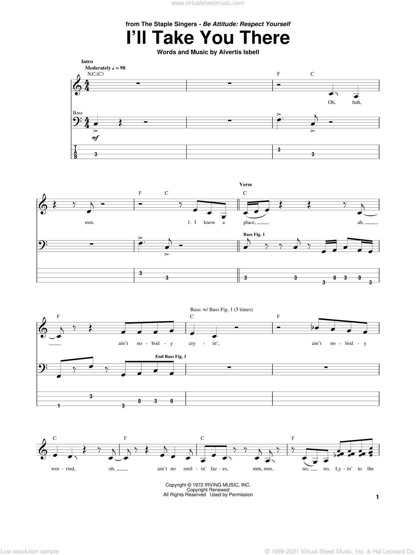 I'll Take You There sheet music for bass (tablature) (bass guitar) by Alvertis Isbell and The Staple Singers. Score Image Preview.