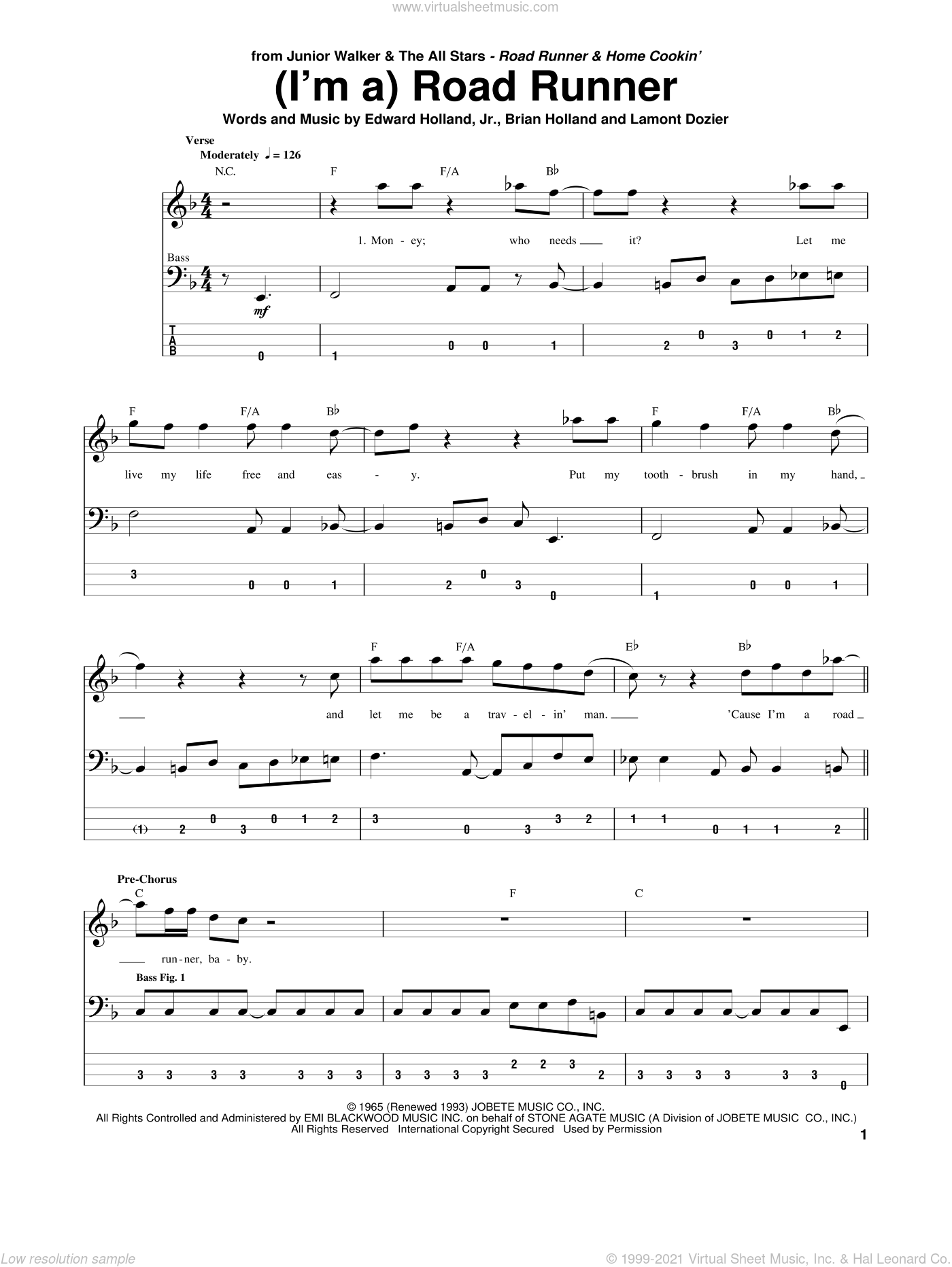(I'm A) Road Runner sheet music for bass (tablature) (bass guitar) by Junior Walker & the All Stars, Brian Holland, Edward Holland, Jr. and Lamont Dozier, intermediate skill level