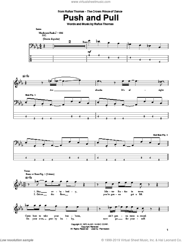 Push And Pull sheet music for bass (tablature) (bass guitar) by Rufus Thomas, intermediate. Score Image Preview.