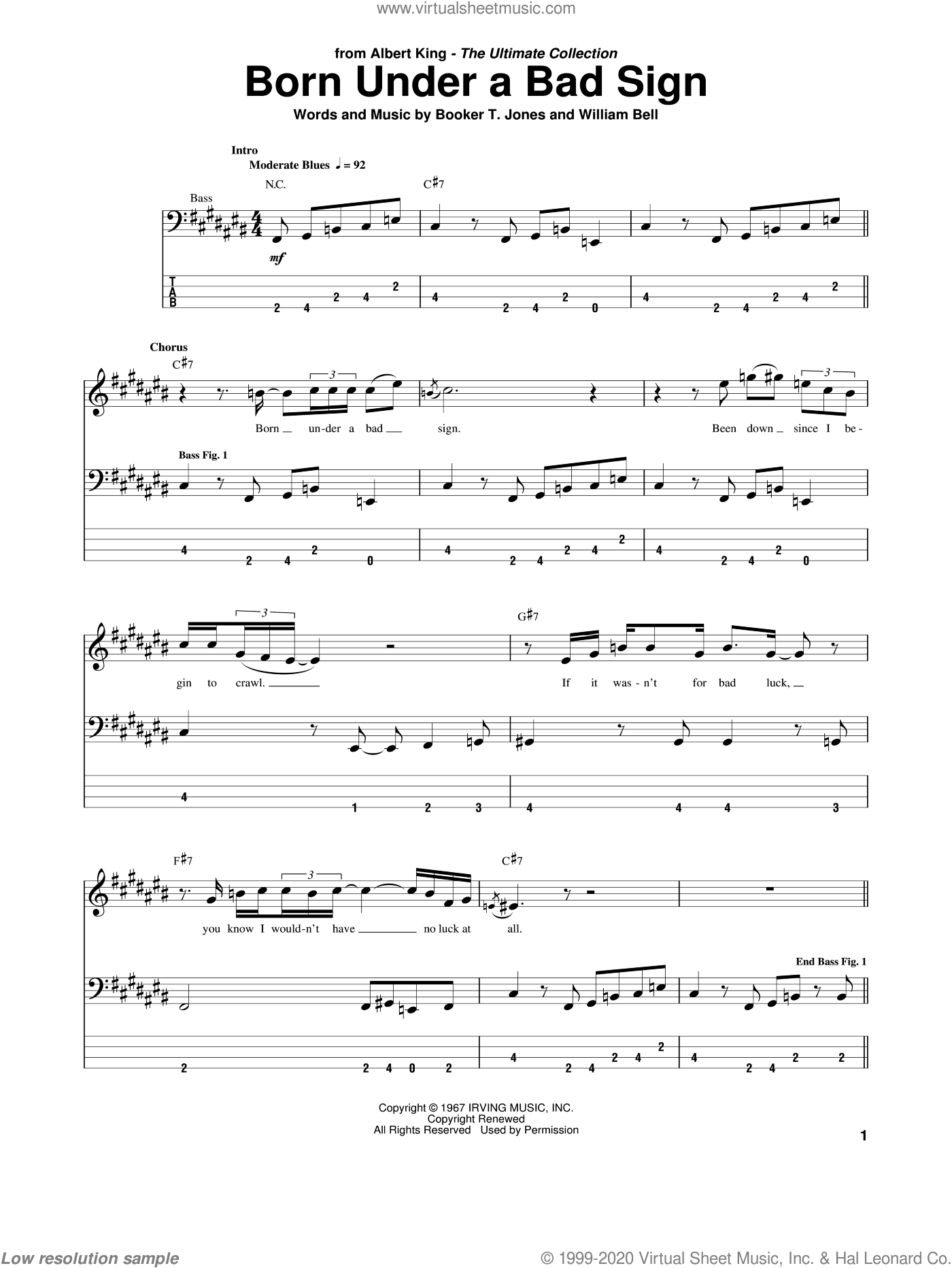 Born Under A Bad Sign sheet music for bass (tablature) (bass guitar) by William Bell, Albert King, Cream and Booker T. Jones