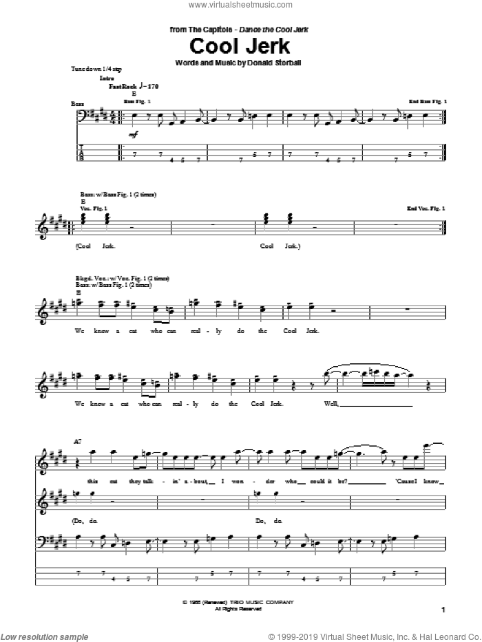Cool Jerk sheet music for bass (tablature) (bass guitar) by The Capitols and Donald Storball, intermediate skill level