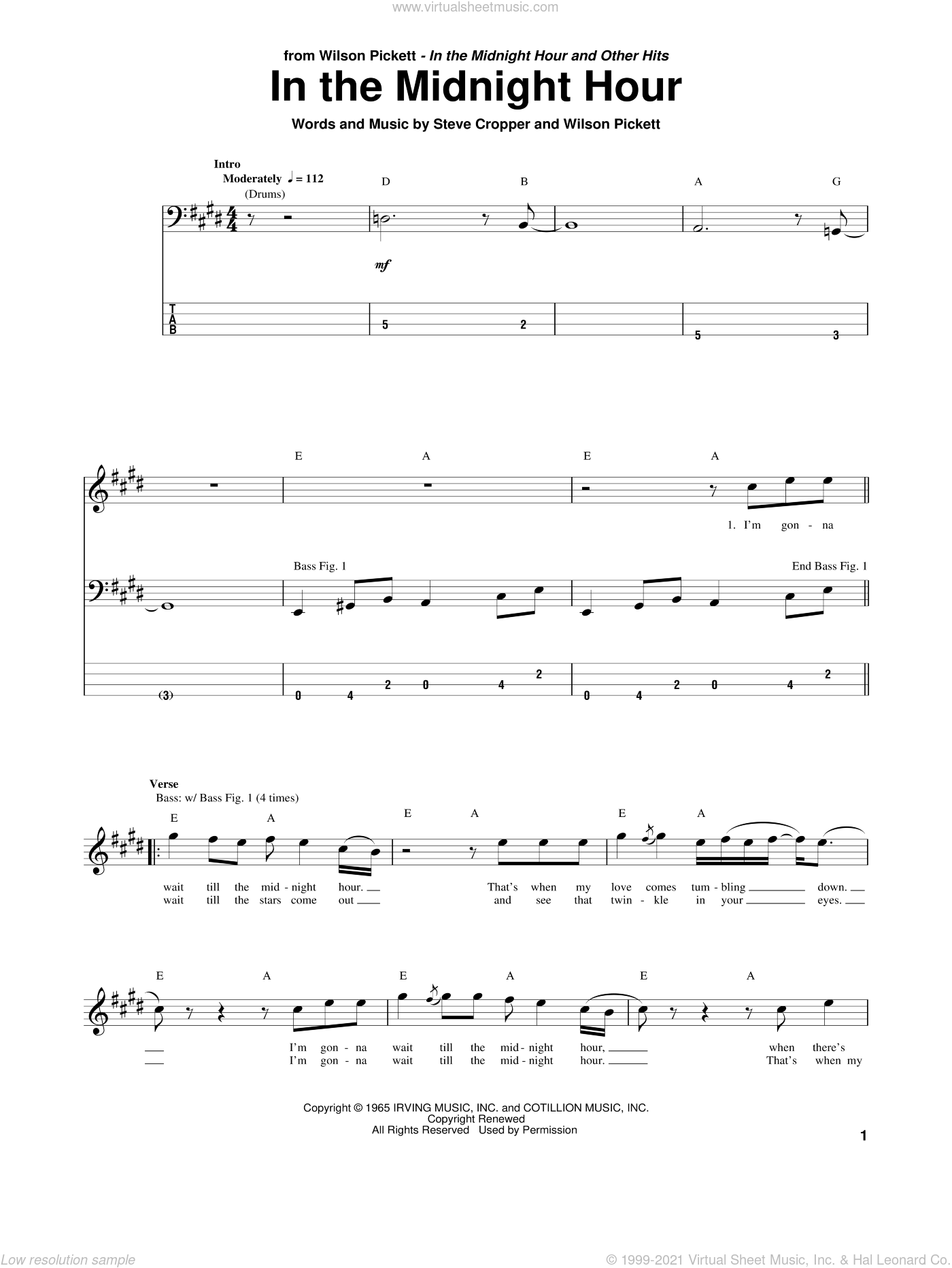 In The Midnight Hour sheet music for bass (tablature) (bass guitar) by Wilson Pickett and Steve Cropper, intermediate skill level