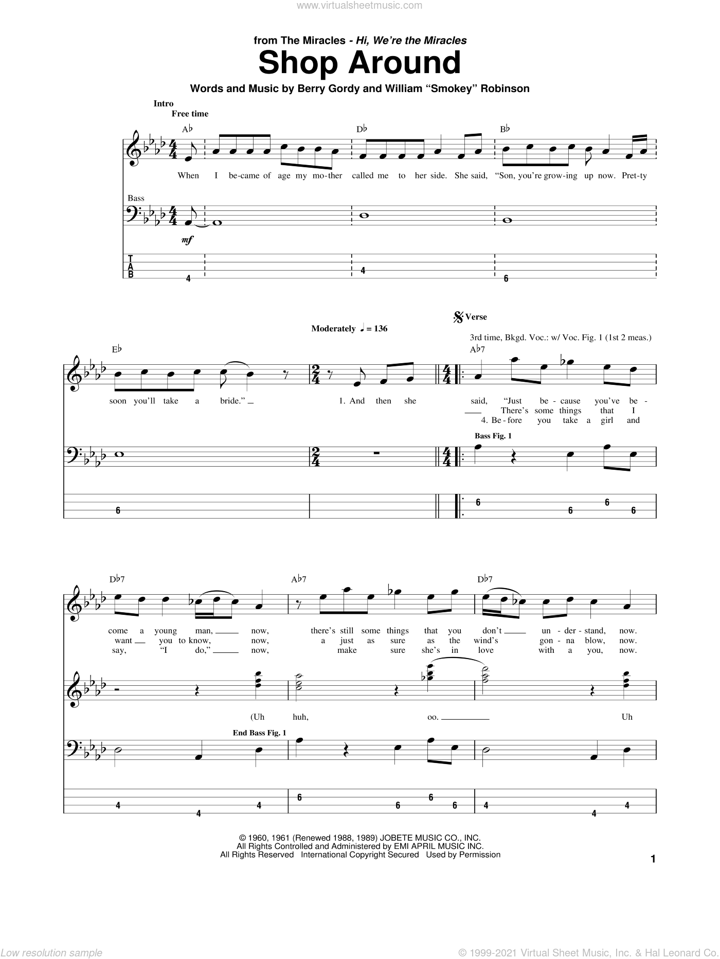 Shop Around sheet music for bass (tablature) (bass guitar) by Berry Gordy and Smokey Robinson & The Miracles. Score Image Preview.