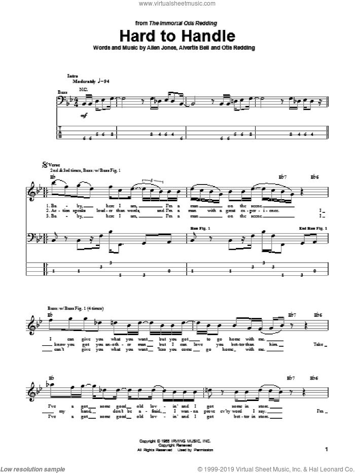 Hard To Handle sheet music for bass (tablature) (bass guitar) by Otis Redding, The Black Crowes, Allen Jones and Alvertis Bell, intermediate