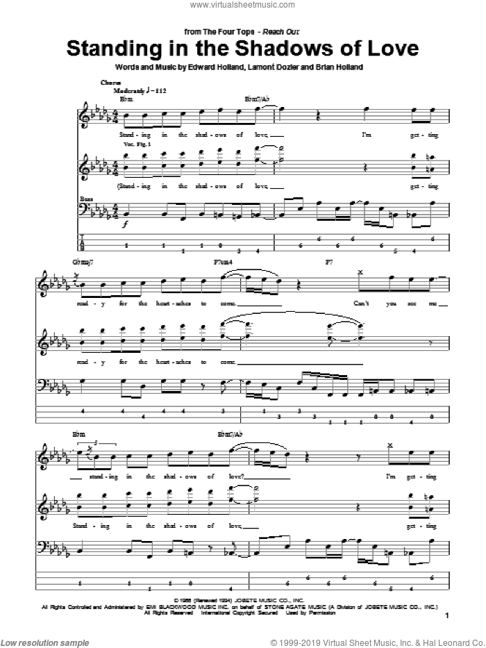 Standing In The Shadows Of Love sheet music for bass (tablature) (bass guitar) by The Four Tops, Brian Holland, Eddie Holland and Lamont Dozier, intermediate bass (tablature) (bass guitar). Score Image Preview.