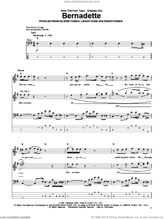 Bernadette sheet music for bass (tablature) (bass guitar) by The Four Tops, Brian Holland, Eddie Holland and Lamont Dozier, intermediate skill level