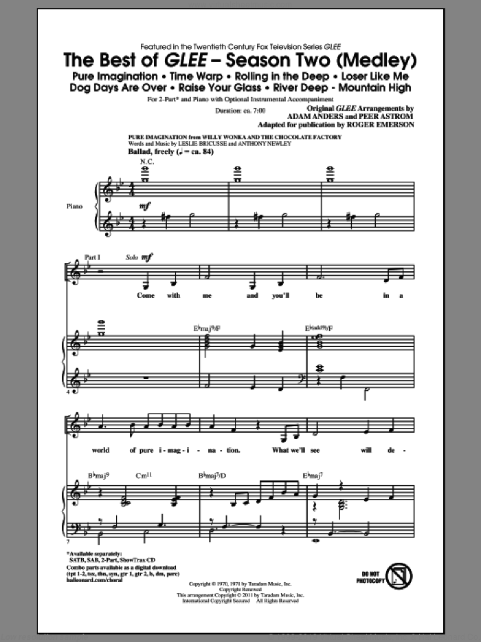 The Best Of Glee (Season Two Medley) sheet music for choir (2-Part) by Roger Emerson, Glee Cast, Adam Anders, Johan Schuster, Max Martin, Peer Astrom and Savan Kotecha, intermediate duet