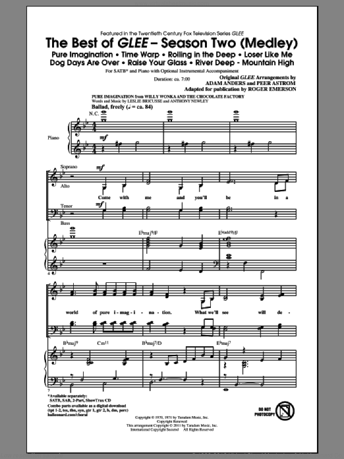 The Best Of Glee (Season Two Medley) sheet music for choir (SATB) by Max Martin, Glee Cast, Johan Schuster, Peer Astrom, Roger Emerson and Savan Kotecha, intermediate choir (SATB). Score Image Preview.