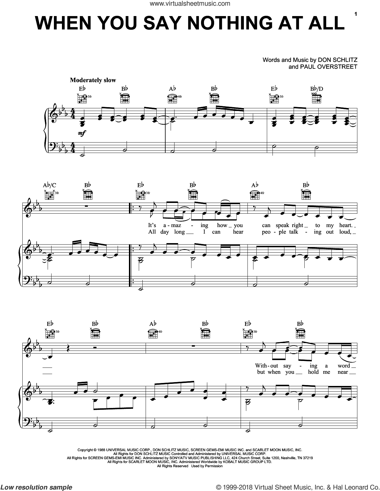 When You Say Nothing At All sheet music for voice, piano or guitar by Paul Overstreet, Alison Krauss, Alison Krauss & Union Station and Don Schlitz. Score Image Preview.