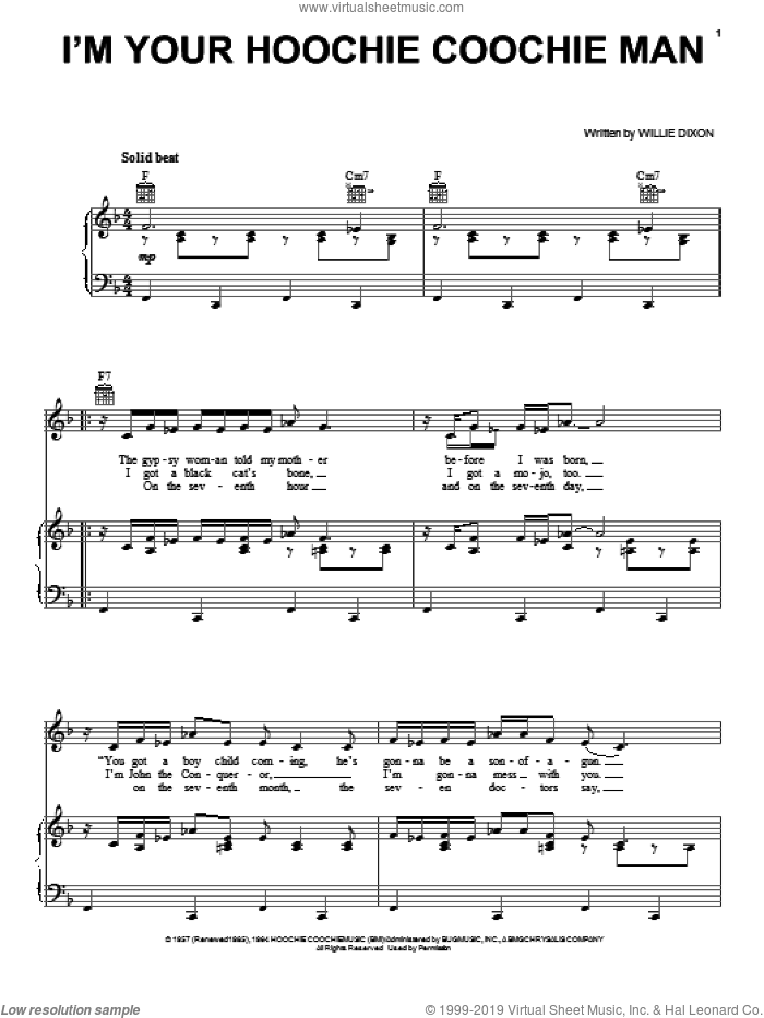 I'm Your Hoochie Coochie Man sheet music for voice, piano or guitar by Allman Brothers Band, Jimi Hendrix, Chuck Berry, Muddy Waters and Willie Dixon. Score Image Preview.