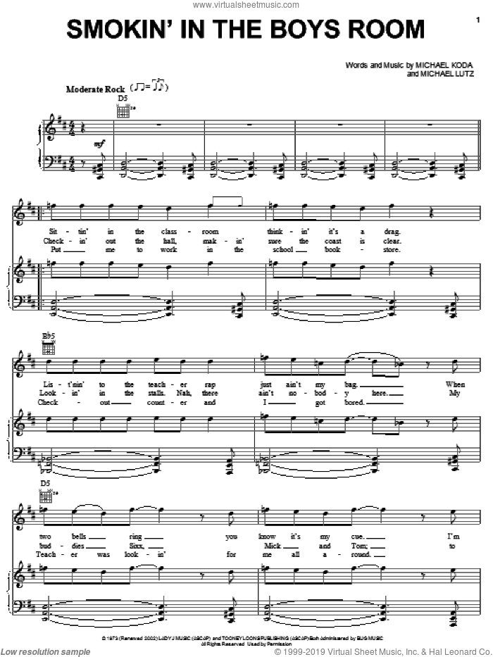 Smokin' In The Boys Room sheet music for voice, piano or guitar by Michael Lutz and Motley Crue. Score Image Preview.