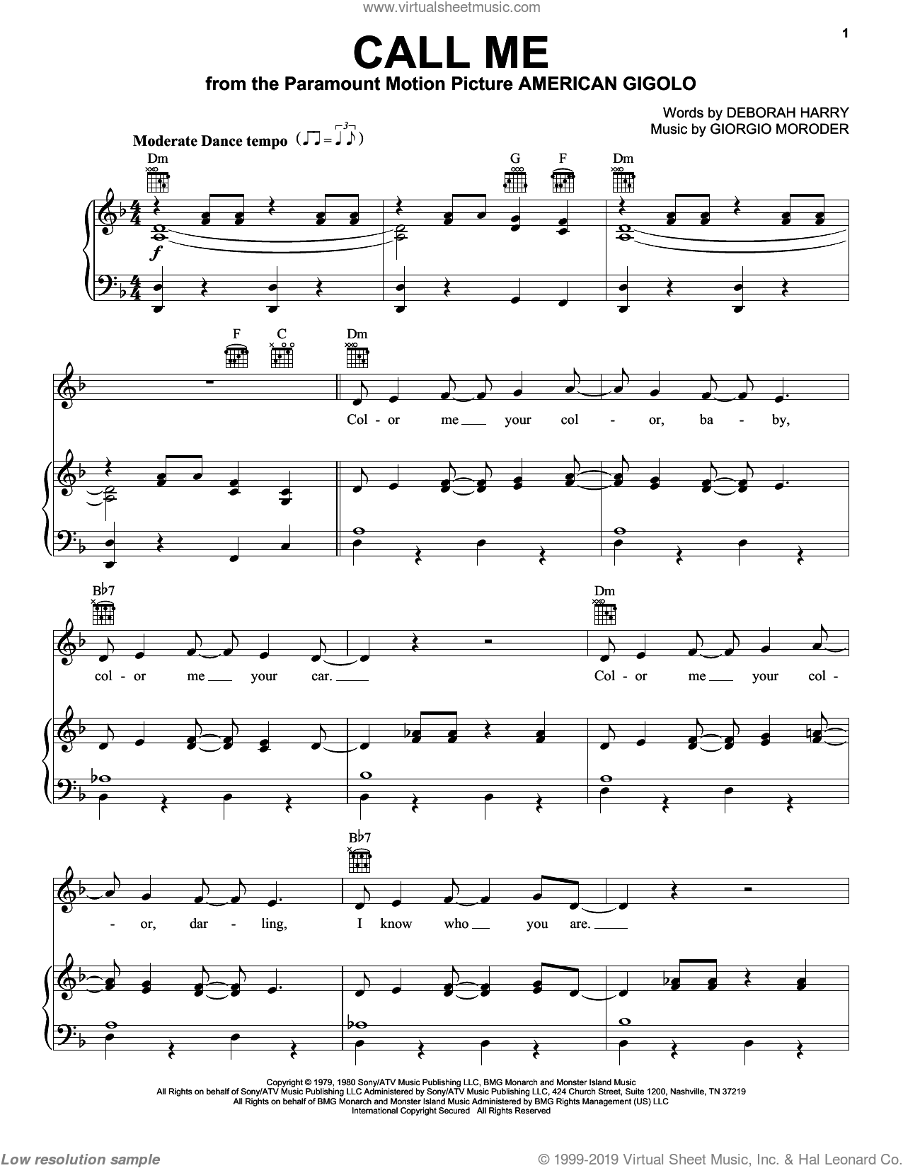 Call Me sheet music for voice, piano or guitar by Giorgio Moroder