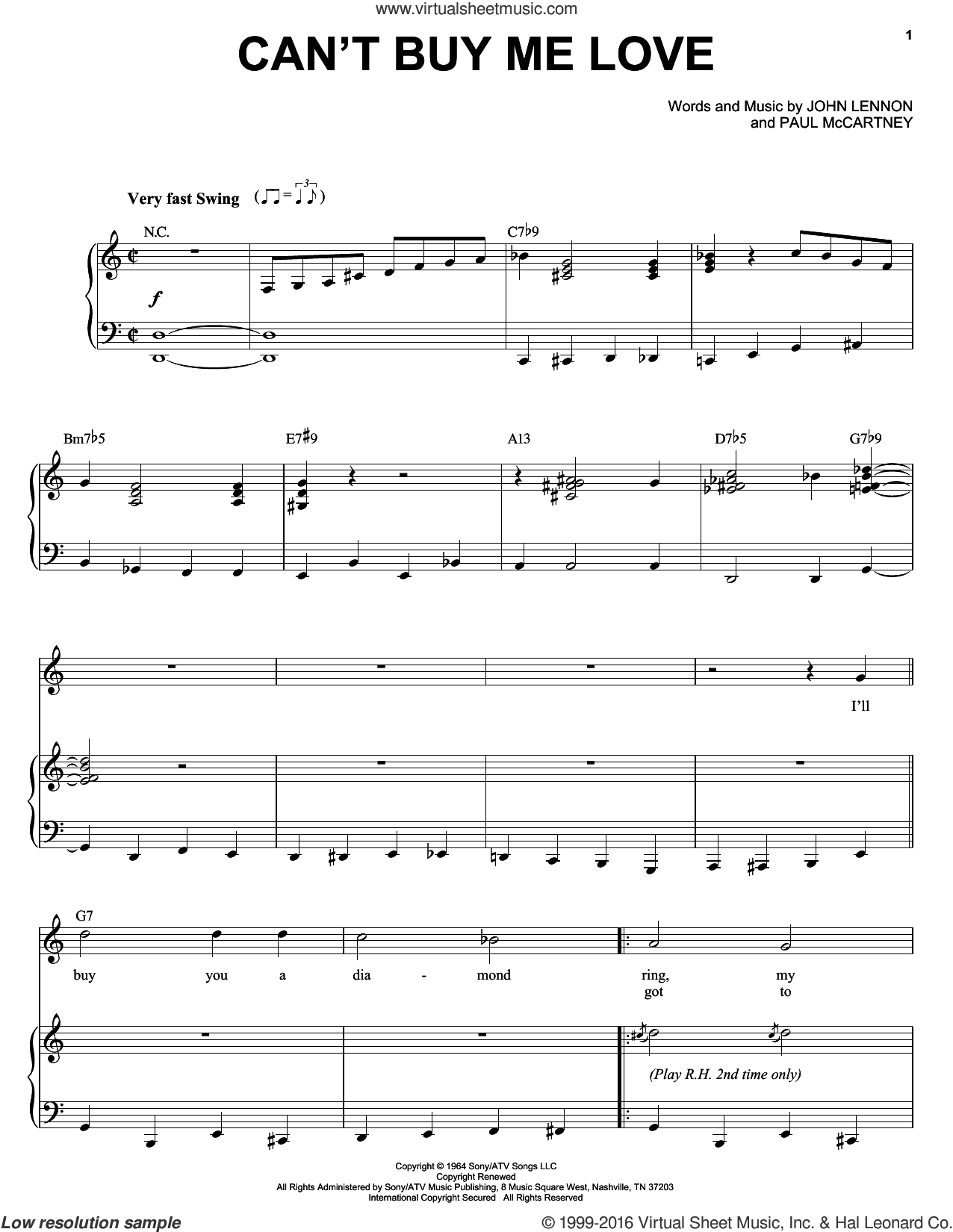 Can't Buy Me Love sheet music for voice and piano by Michael Buble, The Beatles, John Lennon and Paul McCartney, intermediate skill level