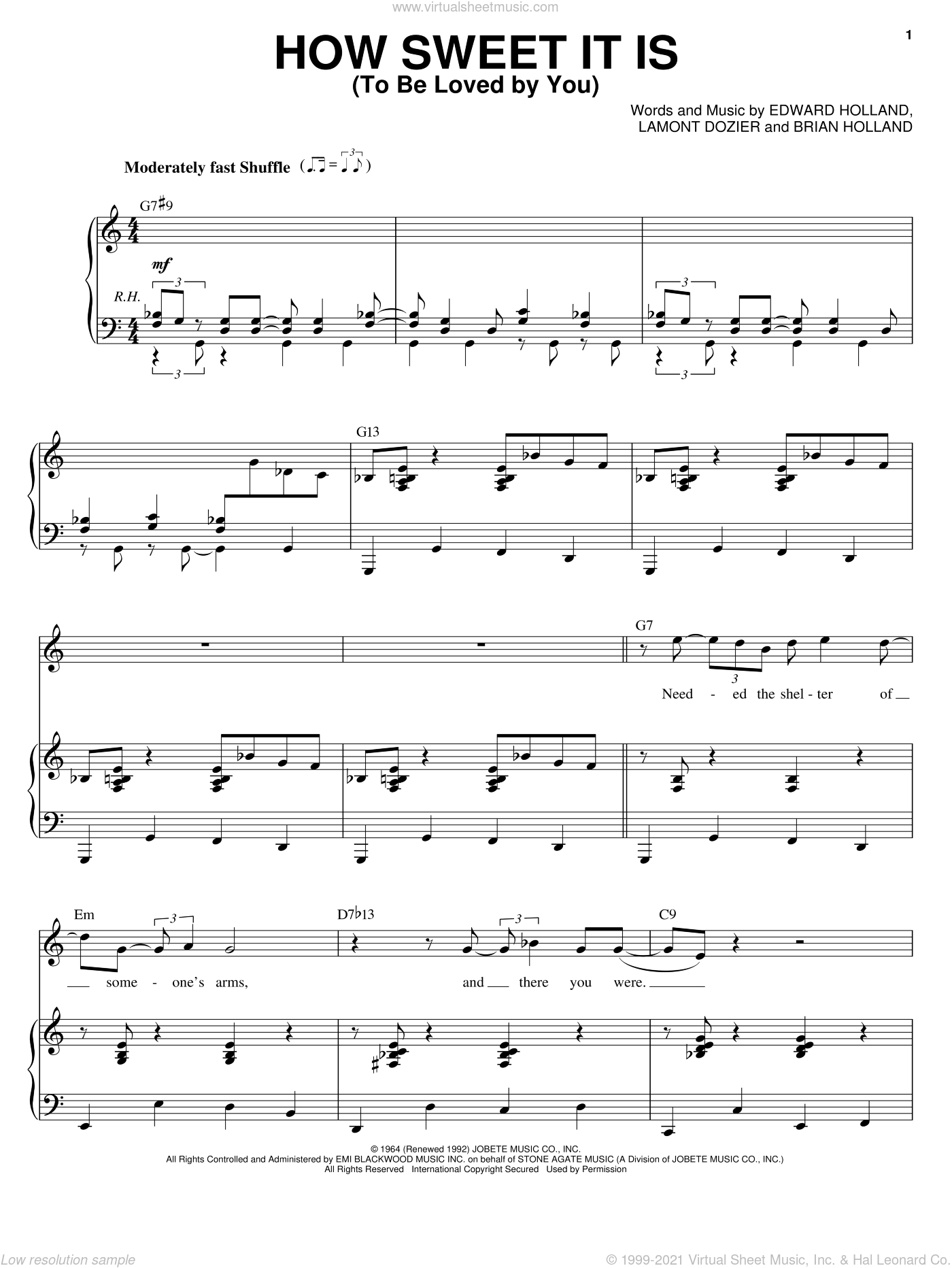 How Sweet It Is (To Be Loved By You) sheet music for voice and piano by Michael Buble, James Taylor, Marvin Gaye, Brian Holland, Eddie Holland and Lamont Dozier, intermediate skill level