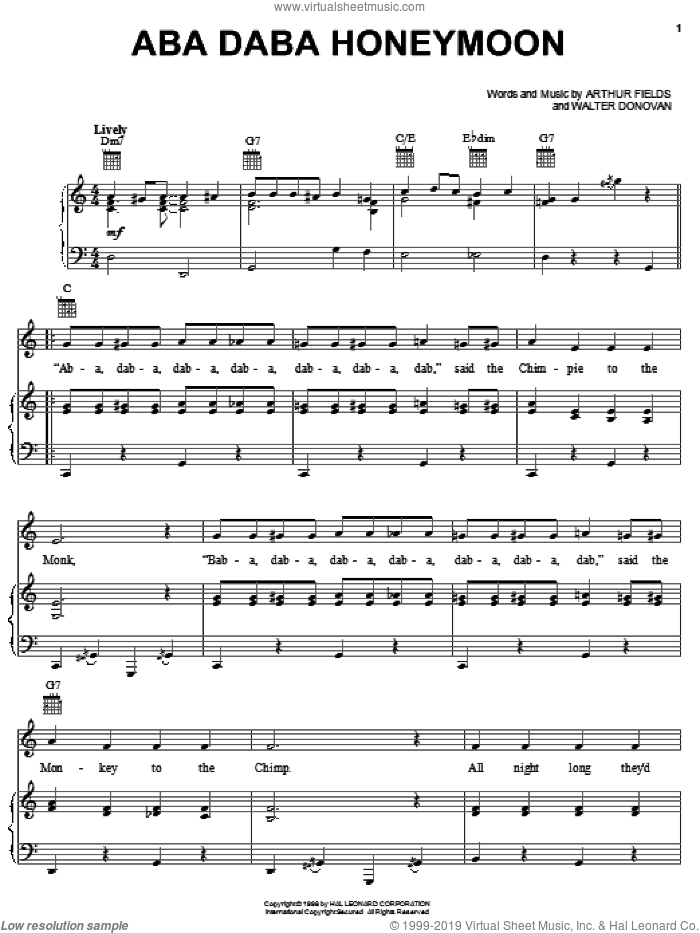 Aba Daba Honeymoon sheet music for voice, piano or guitar by Walter Donovan. Score Image Preview.