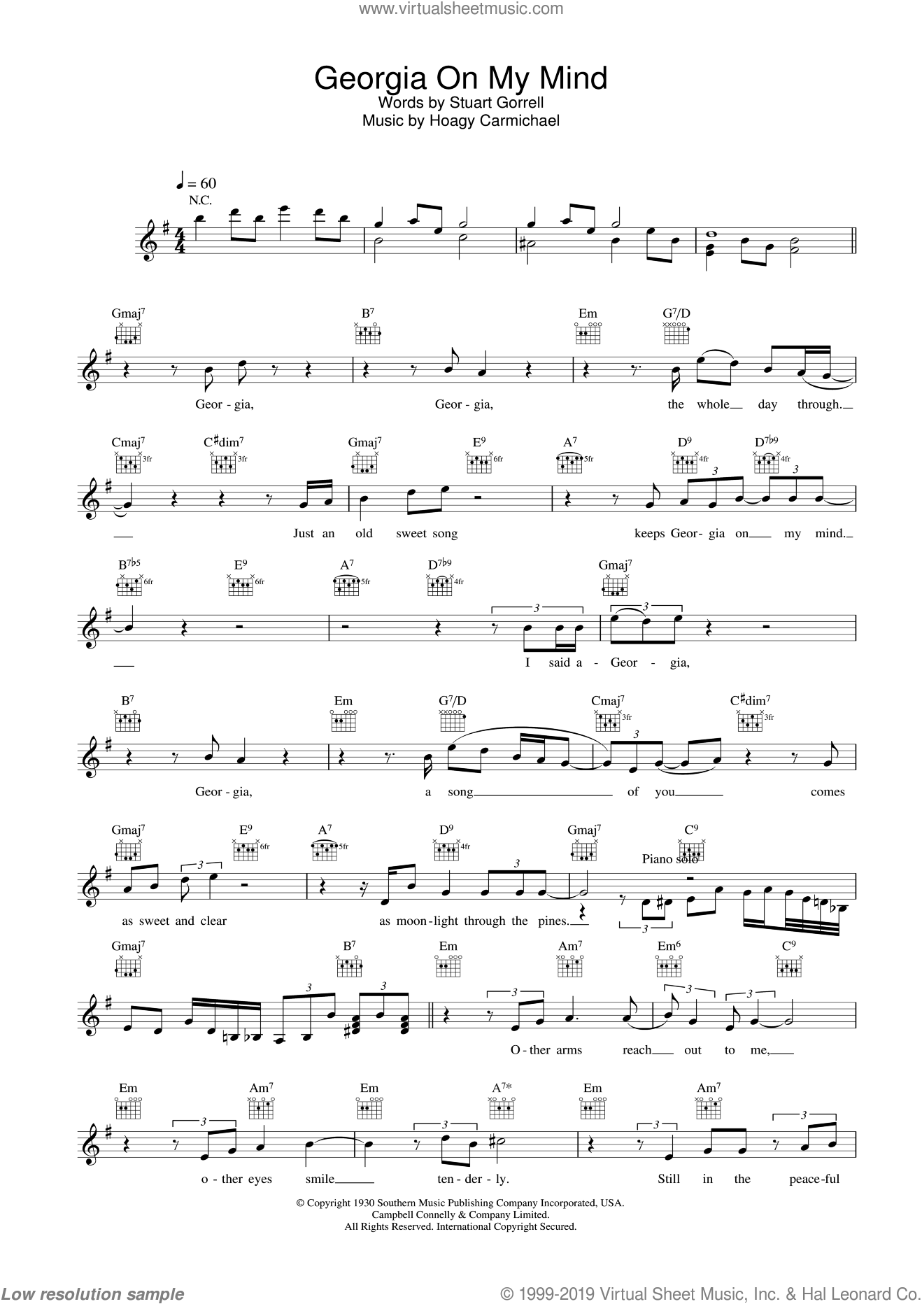 Georgia On My Mind sheet music for voice and other instruments (fake book) by Stuart Gorrell