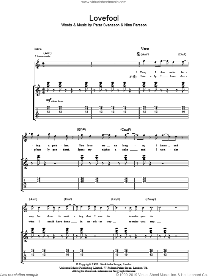 Lovefool sheet music for guitar (tablature) by The Cardigans, Nina Persson and Peter Svensson, intermediate skill level