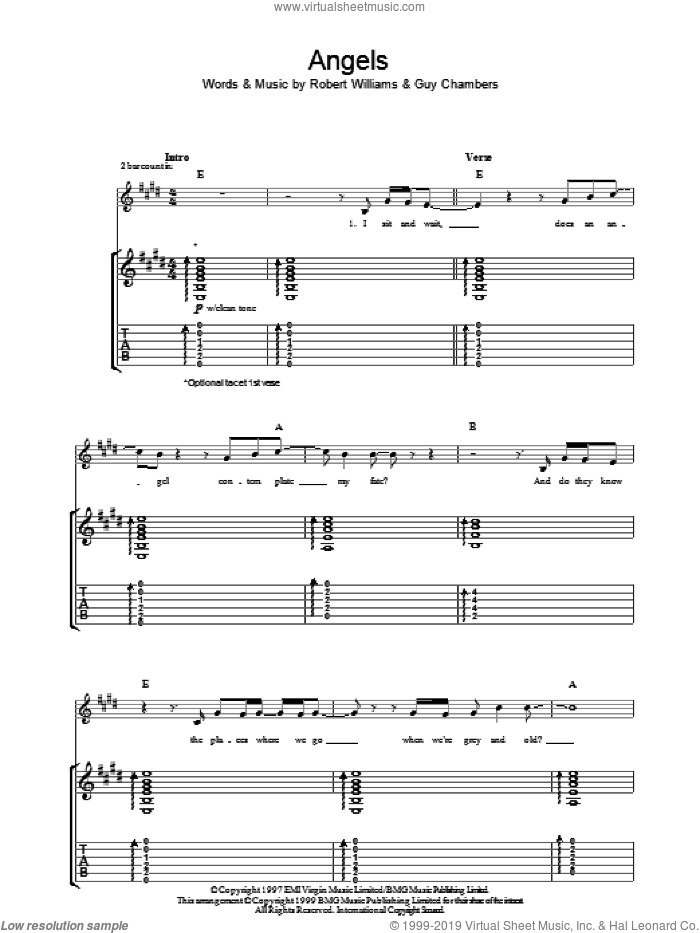 Angels sheet music for guitar (tablature) by Guy Chambers and Robbie Williams. Score Image Preview.