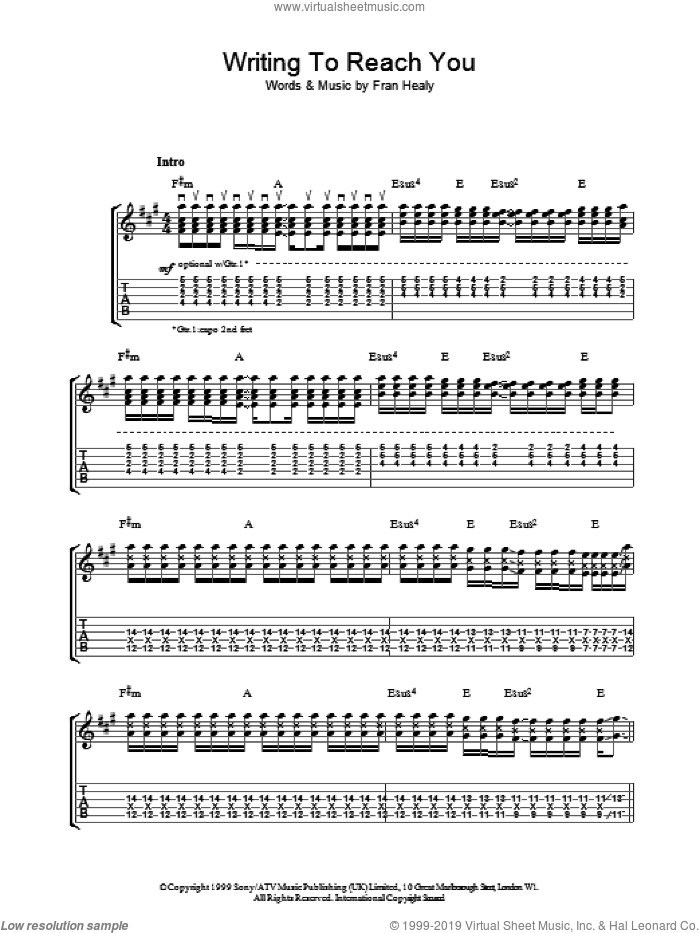 Writing To Reach You sheet music for guitar (tablature) by Fran Healy and Merle Travis. Score Image Preview.