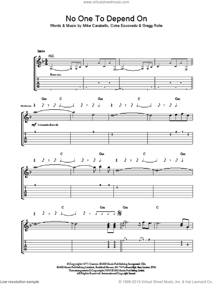 No One To Depend On sheet music for guitar (tablature) by Carlos Santana
