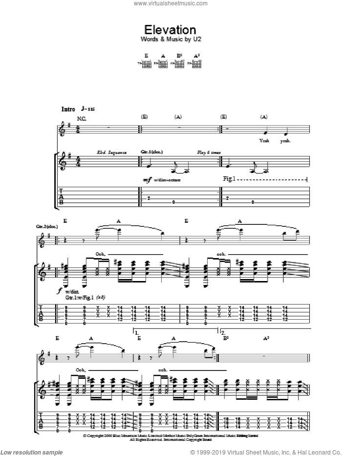 Elevation sheet music for guitar (tablature) by Bono and U2. Score Image Preview.