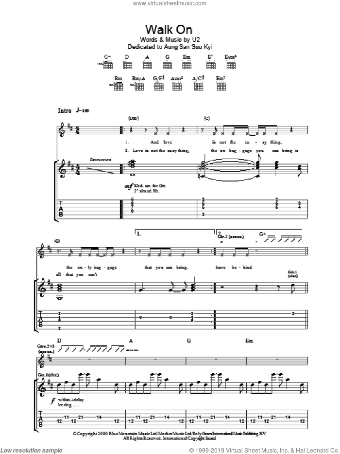 Walk On sheet music for guitar (tablature) by U2 and Bono, intermediate. Score Image Preview.