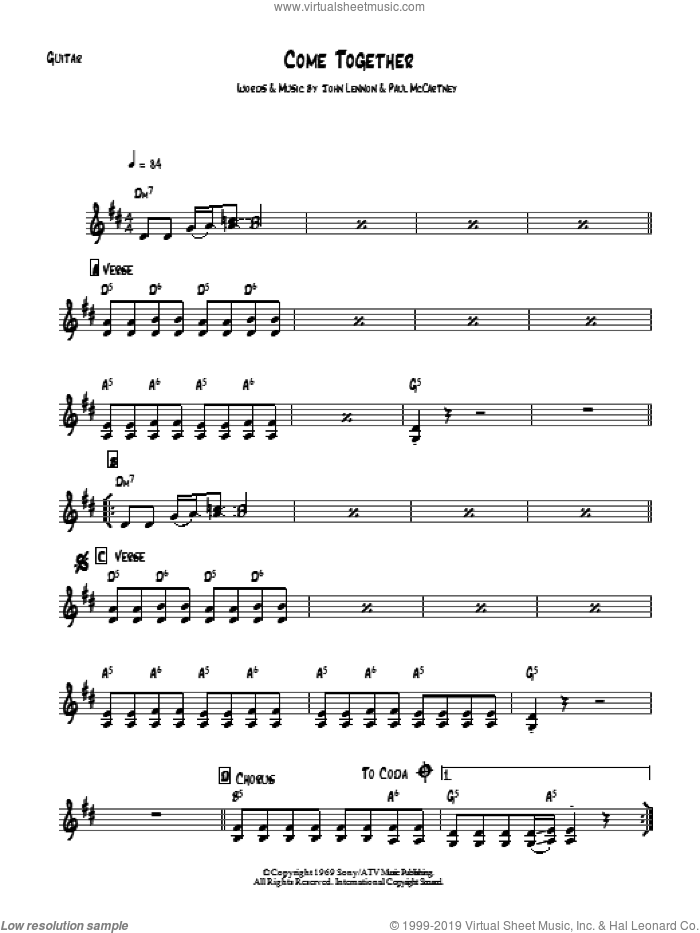 Come Together sheet music for guitar solo (chords) by The Beatles, John Lennon and Paul McCartney. Score Image Preview.