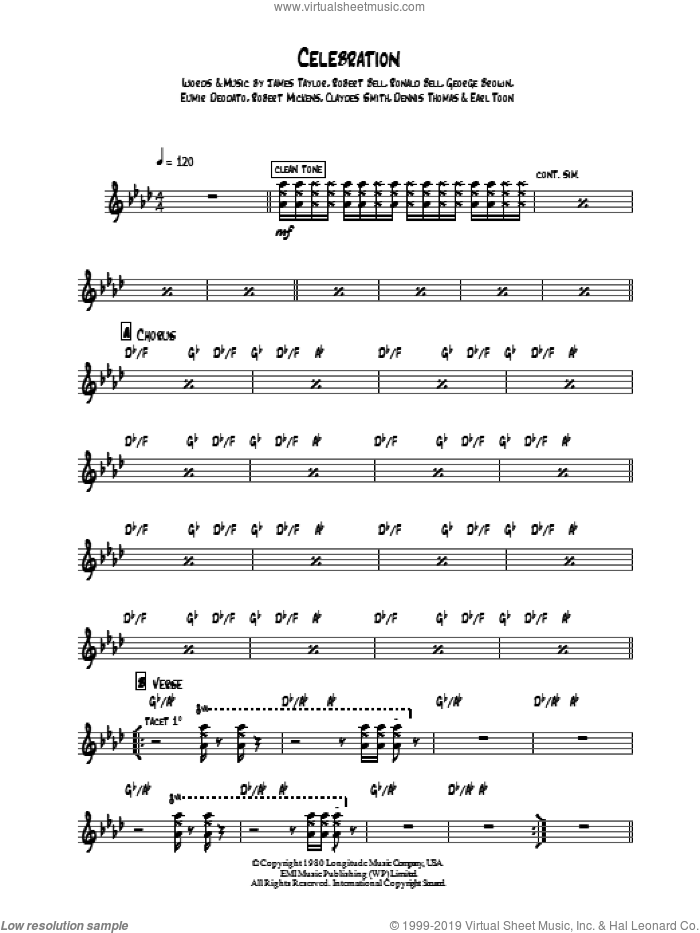 Celebration sheet music for guitar solo (chords) by Kool And The Gang, Claydes Smith, Dennis Thomas, Earl Toon, Eumir Deodato, George Brown, James Taylor, Robert Bell, Robert Mickens and Ronald Bell, easy guitar (chords)