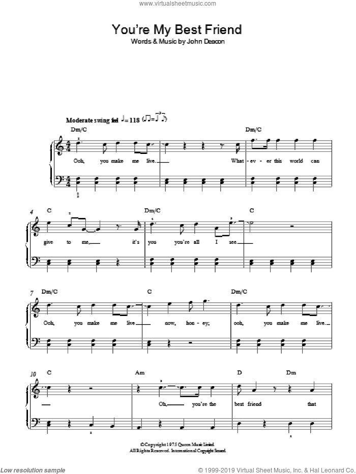 You're My Best Friend sheet music for piano solo by John Deacon and Queen. Score Image Preview.