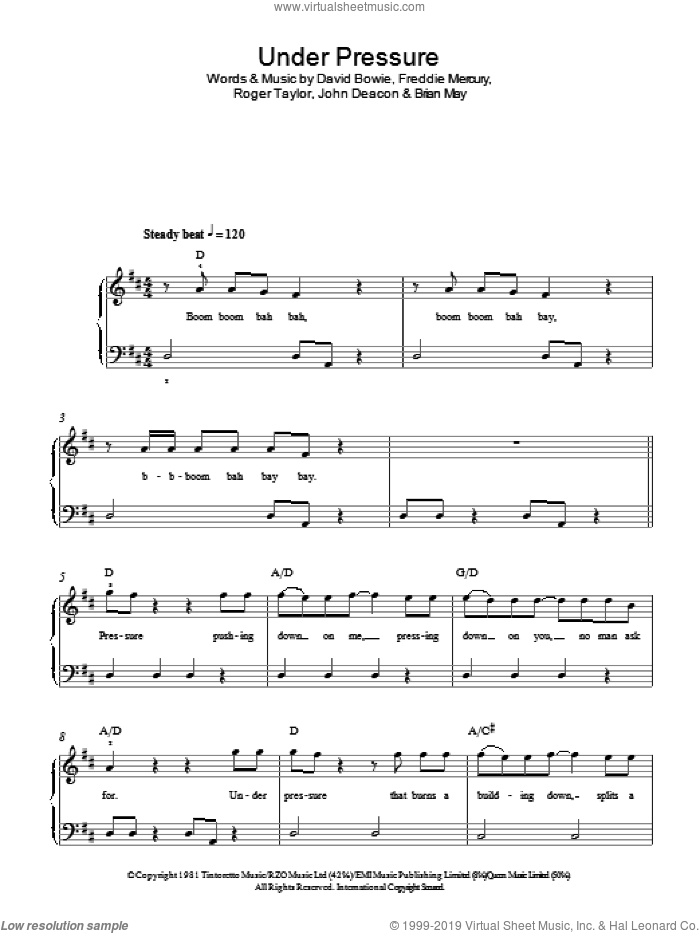 Under Pressure sheet music for piano solo by David Bowie & Queen, David Bowie, Queen, Brian May, Freddie Mercury, John Deacon and Roger Taylor, easy