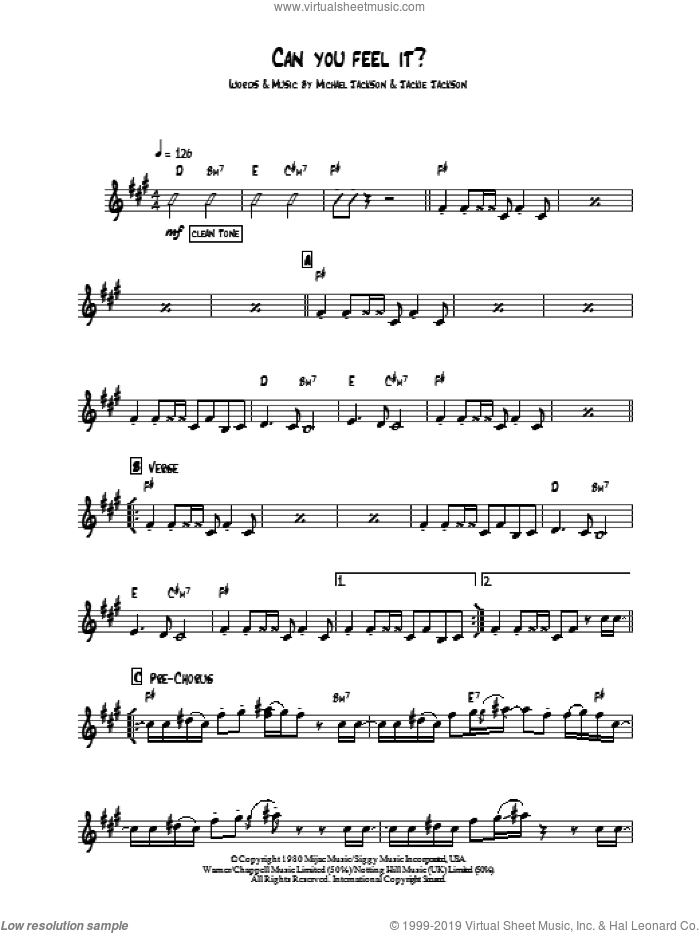 5 - Can You Feel It sheet music for guitar solo (chords) [PDF]