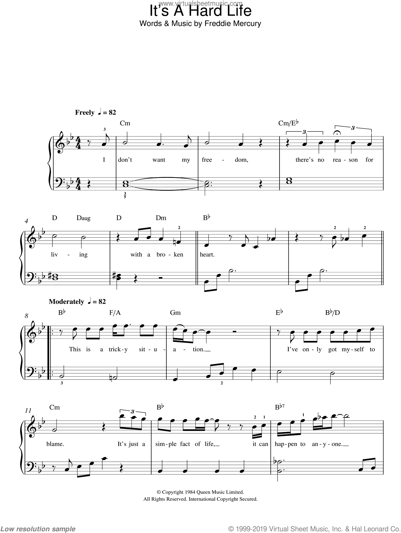 It's A Hard Life sheet music for piano solo by Freddie Mercury and Queen. Score Image Preview.