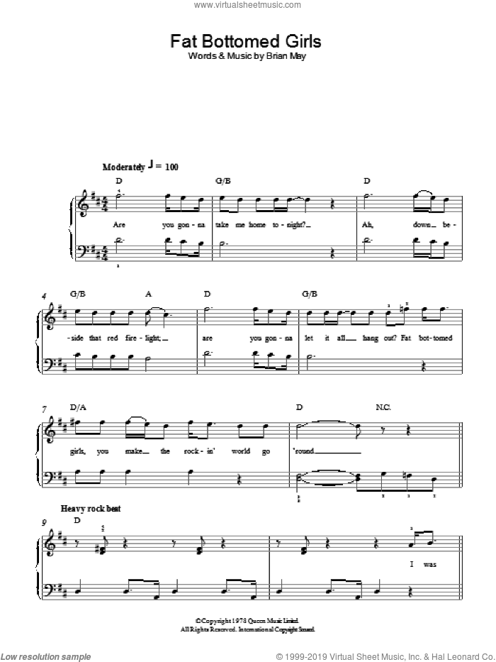 Fat Bottomed Girls sheet music for piano solo by Queen, easy piano. Score Image Preview.