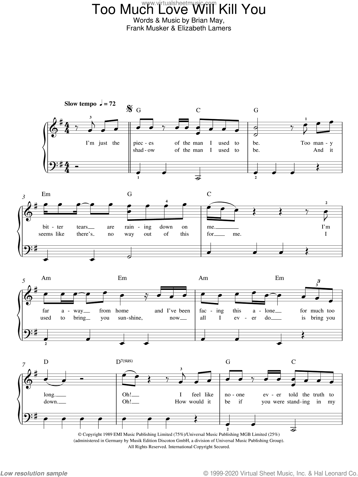 Too Much Love Will Kill You sheet music for piano solo by Queen, Brian May, Elizabeth Lamers and Frank Musker, easy skill level