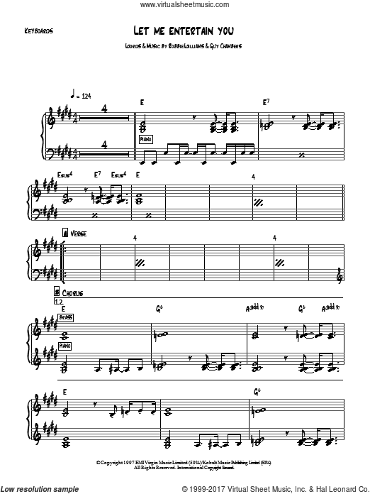 Let Me Entertain You sheet music for piano solo (chords, lyrics, melody) by Robbie Williams, intermediate piano (chords, lyrics, melody). Score Image Preview.