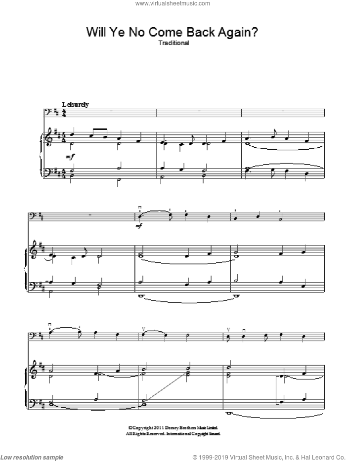 Will Ye No Come Back Again sheet music for voice, piano or guitar. Score Image Preview.