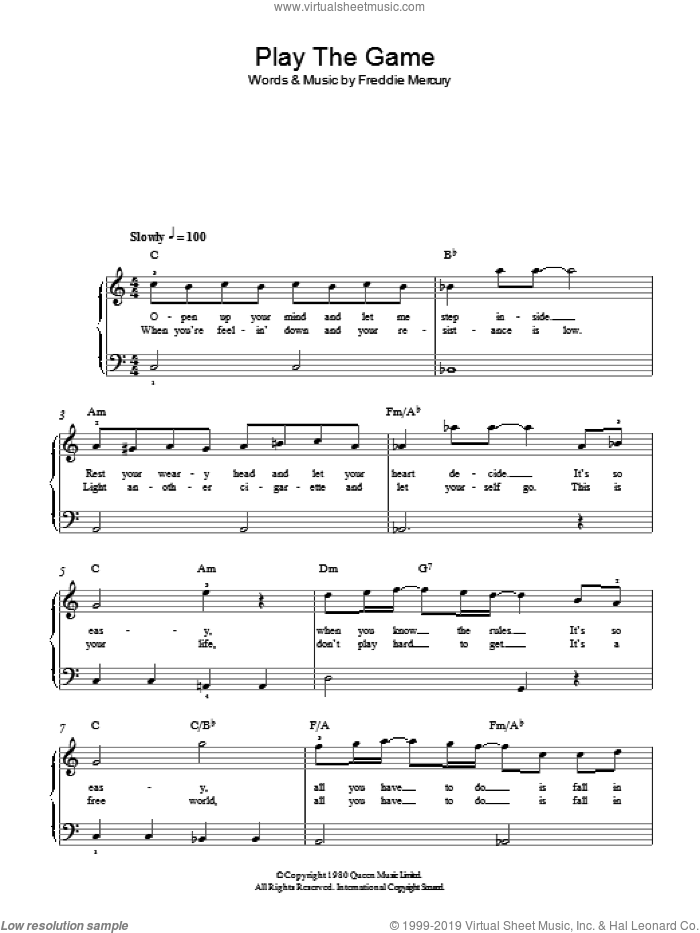 Play The Game sheet music for piano solo by Queen and Freddie Mercury, easy. Score Image Preview.