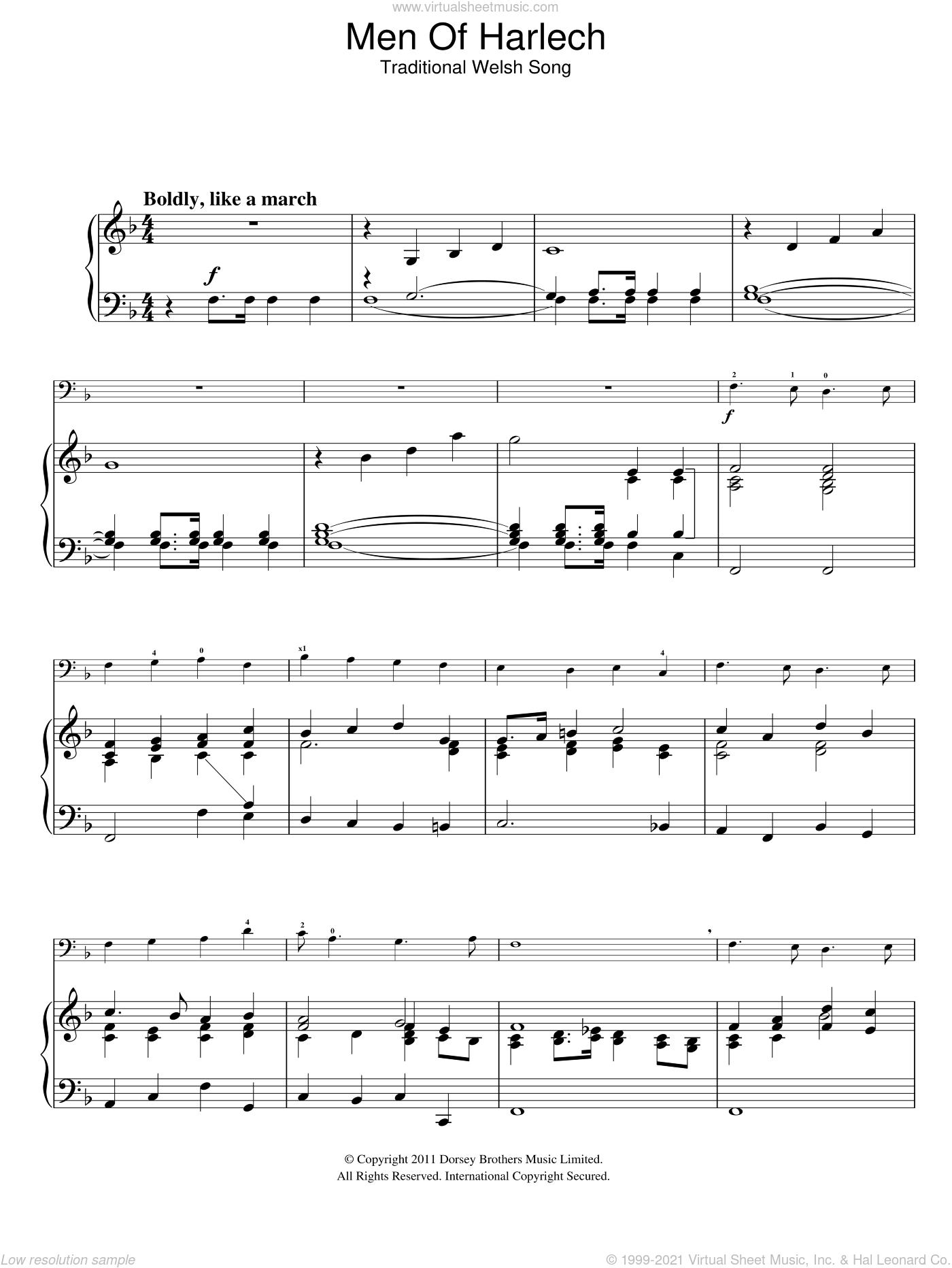 Men Of Harlech sheet music for voice, piano or guitar by Traditional Welsh Song. Score Image Preview.