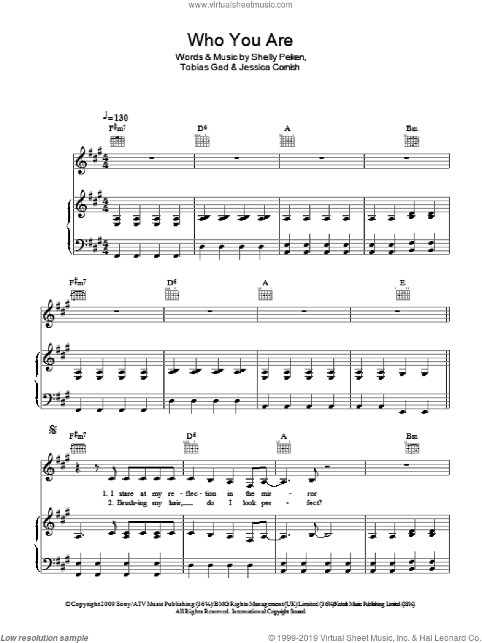 Who You Are sheet music for voice, piano or guitar by Toby Gad, Jessie J, Jessica Cornish and Shelly Peiken. Score Image Preview.
