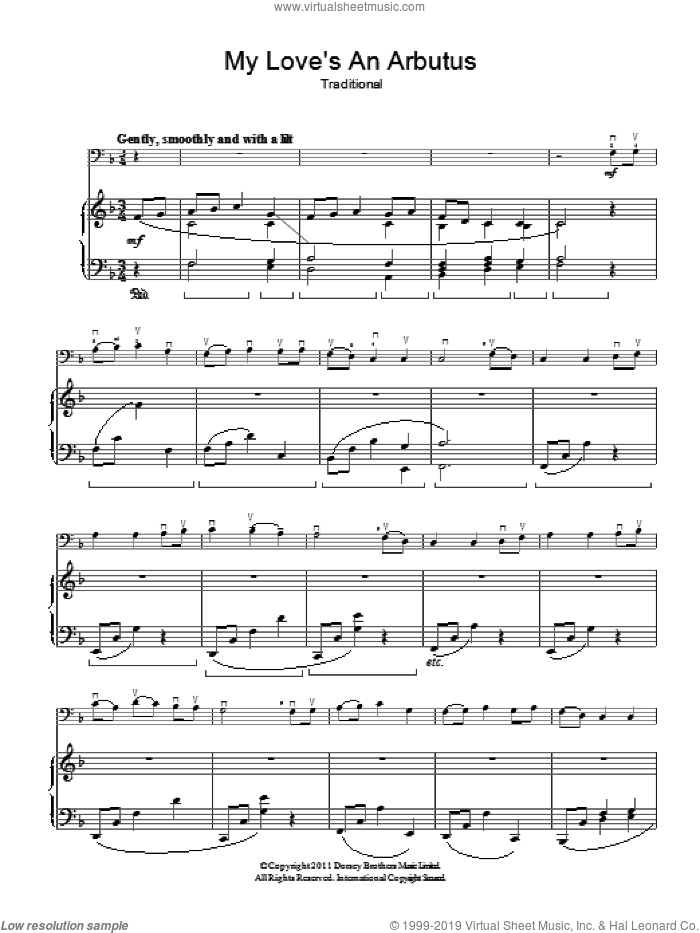 My Love's An Arbutus sheet music for voice, piano or guitar. Score Image Preview.