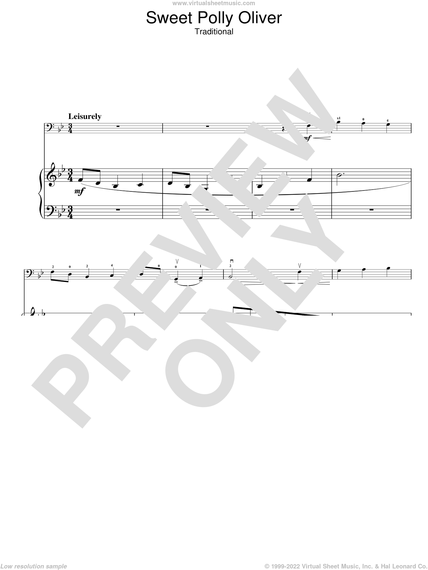Sweet Polly Oliver sheet music for voice, piano or guitar. Score Image Preview.