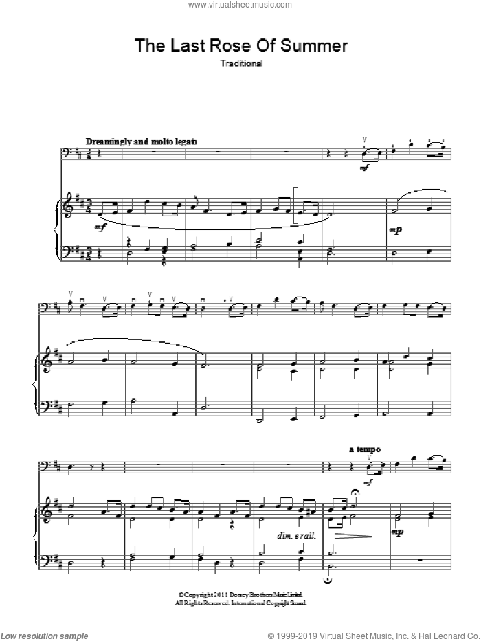 'Tis The Last Rose Of Summer sheet music for voice, piano or guitar by Thomas Moore