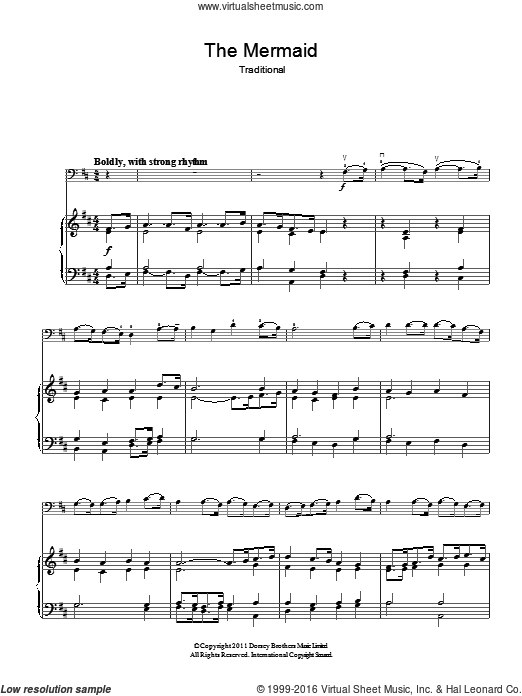 The Mermaid sheet music for voice, piano or guitar. Score Image Preview.