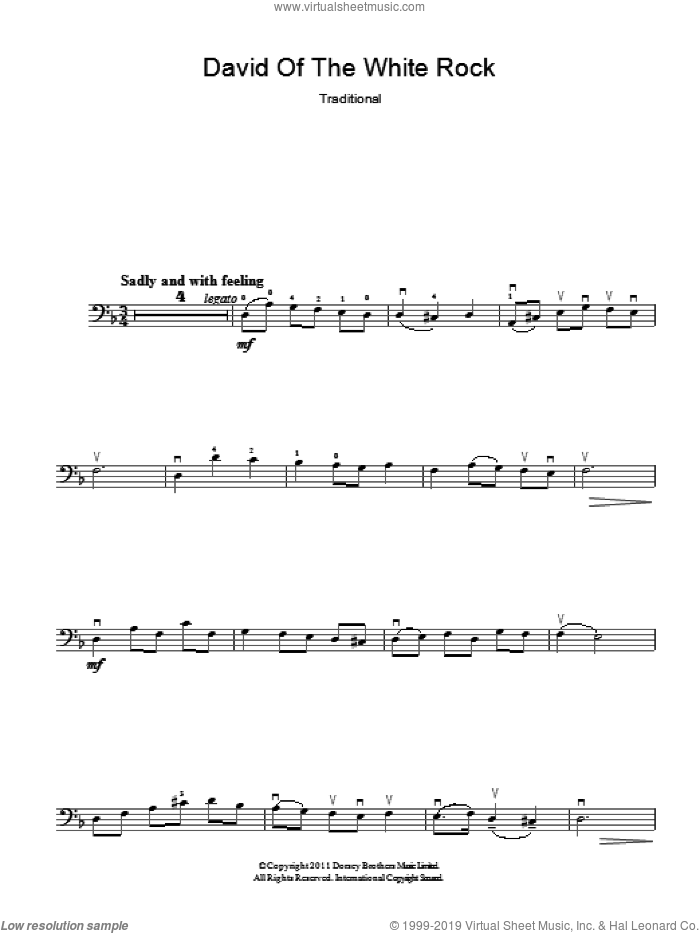 David Of The White Rock sheet music for bass (tablature) (bass guitar) by Traditional Welsh Song